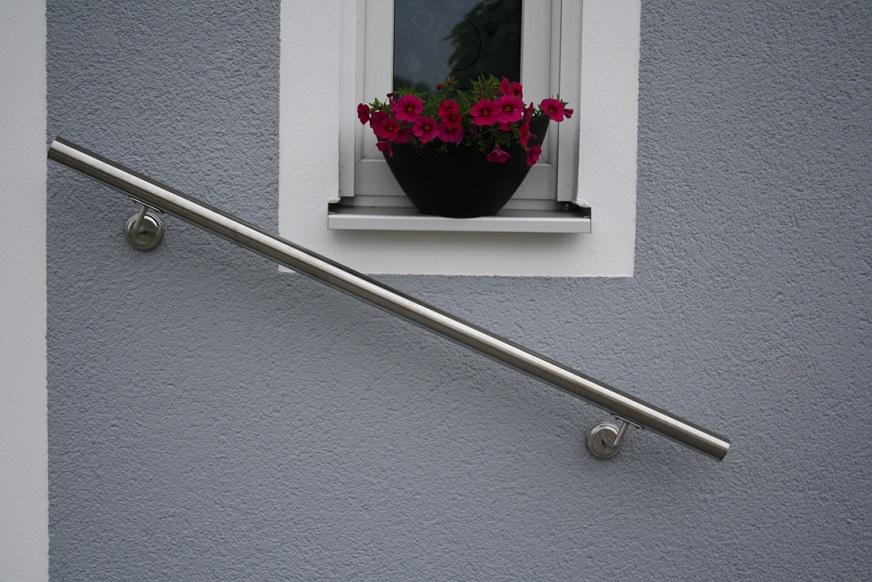 edler handlauf florenz v2a edelstahl gel nder wandhandlauf treppe gel nder ebay. Black Bedroom Furniture Sets. Home Design Ideas