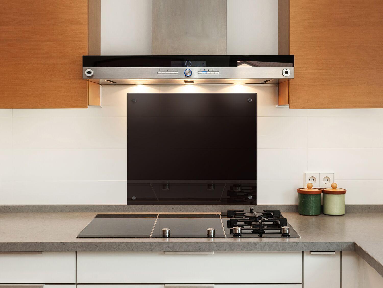Küchenrückwand 6mm ESG Glas Schwarz Spritzschutz Küche Rückwand ...