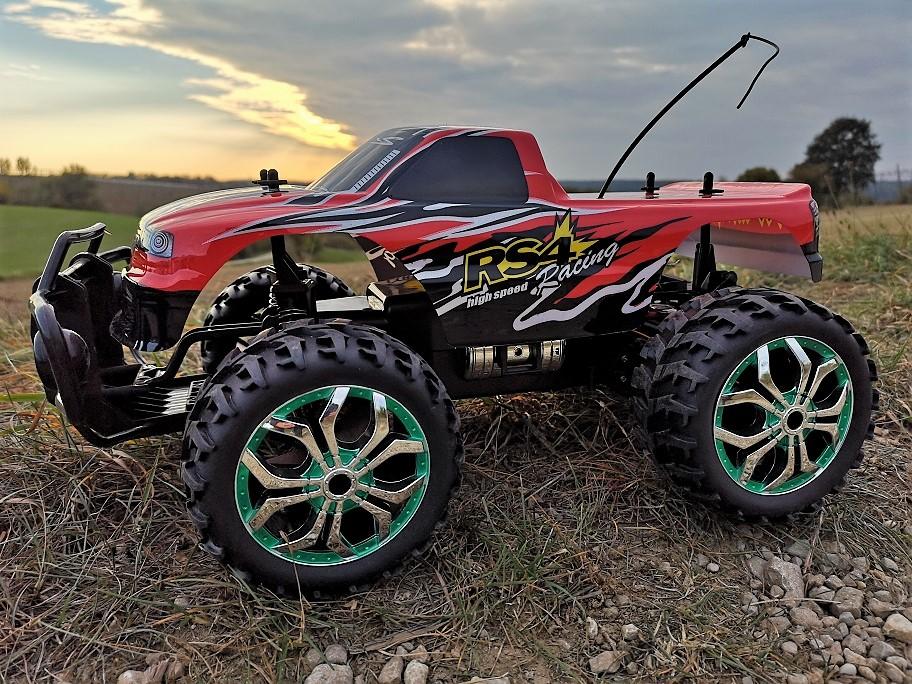 Elektrisches Spielzeug 2,4 GHz inkl Akku und Ladegerät blau RC Offroad Truck 4WD M 1:16